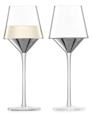 Lsa Space Platinum Set Of Two Wine Glasses