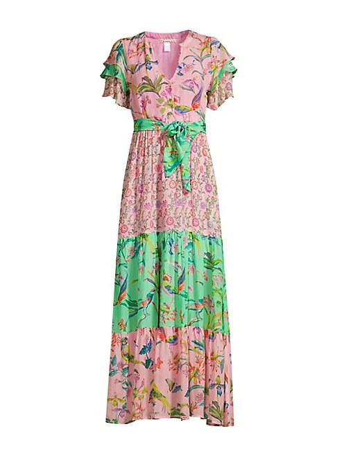 """Image of Silk chiffon maxi dress with tiered ruffled sleeves and luxurious contrast prints. Split neck. Short sleeves. Three-button placket. Self-tie waist. Silk chiffon. Dry clean. Imported. SIZE & FIT.A-line silhouette. About 54"""" from shoulder to hem. Model show"""