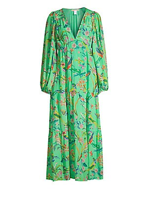 "Image of Silk chiffon maxi dress with tropical bird print and tiered empire silhouette. V-neck Long sleeves Zip closure Waist tie Gathering details Silk chiffon Dry clean Imported SIZE & FIT Empire silhouette About 5"" from shoulder to hem Model shown is 5'10 (177c"