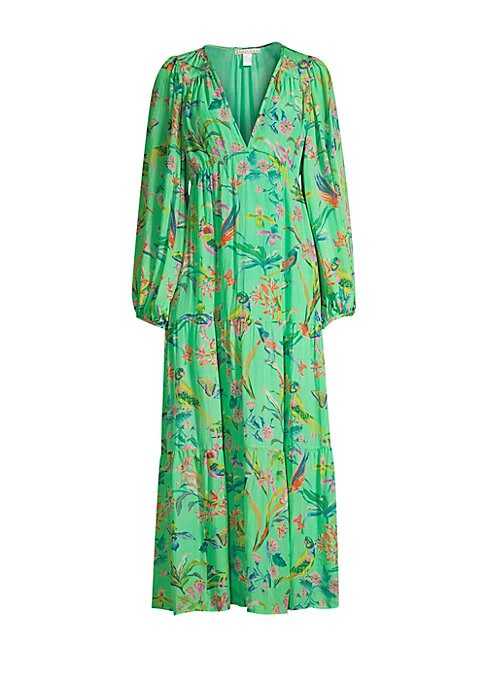 """Image of Silk chiffon maxi dress with tropical bird print and tiered empire silhouette.V-neck. Long sleeves. Zip closure. Waist tie. Gathering details. Silk chiffon. Dry clean. Imported. SIZE & FIT. Empire silhouette. About 5"""" from shoulder to hem. Model shown is"""