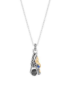 John Hardy Legends Naga 18k Yellow Gold Silver Gemstone Pendant Necklace