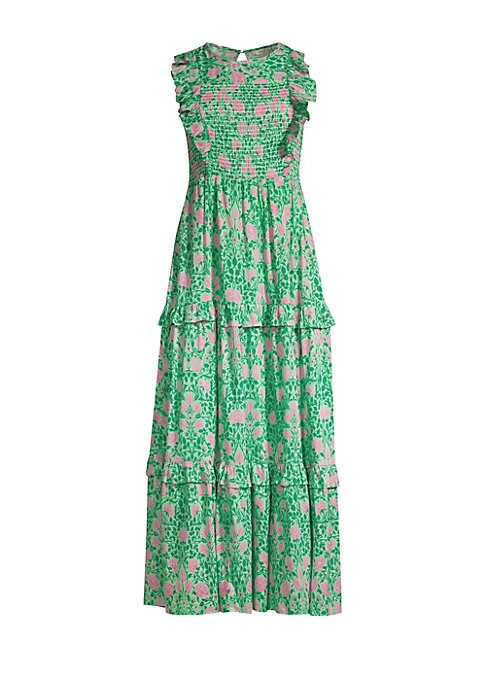 """Image of A smocked bodice framed with ruffles lends a modern prairie aesthetic to this floral maxi dress. Roundneck. Sleeveless. Back keyhole button closure. Tiered skirt. Cotton. Dry clean. Imported. SIZE & FIT. About 53"""" from shoulder to hem. Model shown is 5'10"""