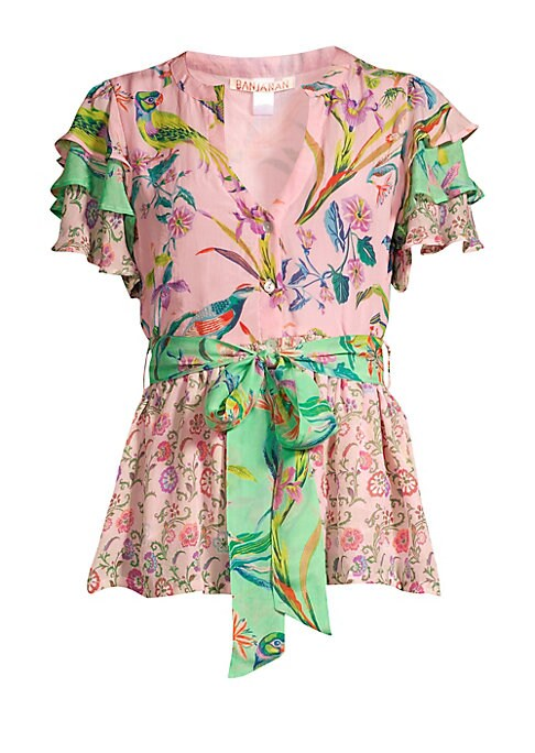 """Image of Opulent florals and avian print adorns this feminine tie-waist peplum blouse. Roundneck. Tiered ruffled short sleeves. Button front. Self-tie waist. Peplum hem. Silk chiffon. Dry clean. Imported. SIZE & FIT. Peplum silhouette. About 24"""" from shoulder to h"""