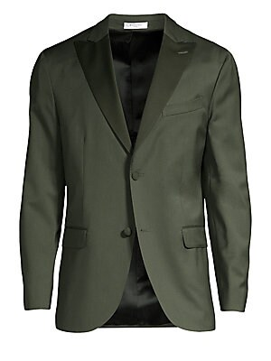 """Image of Contrast peak lapels lend a two-tone effect to this boxy jacket. Peak lapels Long sleeves Button front Chest welt pocket Waist flap pockets Dual back vents Fully lined Virgin wool Dry clean Made in Italy SIZE & FIT About 29"""" from shoulder to hem. Men Luxu"""