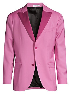 """Image of Contrast peak lapels lend a two-tone colorblock aesthetic to this sleek jacket. Peak lapels Long sleeves Button front Chest welt pocket Waist flap pockets Dual back vents Fully lined Virgin wool Dry clean Made in Italy SIZE & FIT About 29"""" from shoulder t"""