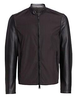 Emporio Armani. Mixed Media Leather Jacket d9e3cd407de2b
