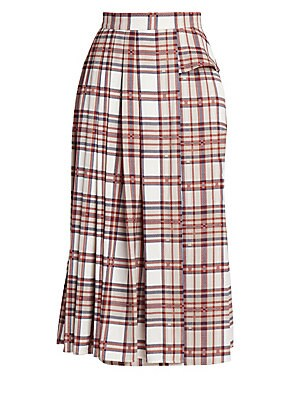 Image of Presented in a plaid seen throughout the collection, Rokh's takes the timeless box-pleated silhouette and updates it with a wrapped waist overlay. The result is a versatile piece full of movement that captures the brand's sublime sense of elegance. Banded