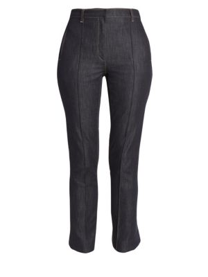 Button Back Hem Flared Crop Trouser Jeans in Indigo