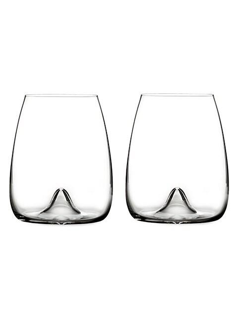 Elegance Stemless Crystal Wine Glass Pair
