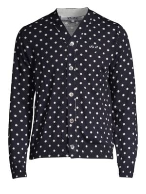 Comme Des Garcons Play Heart Polka Dot Wool Button Down Shirt