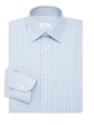 Brioni Check Button Down Shirt