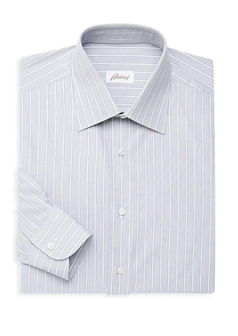 """Image of Classic-fit striped shirt cut from Italian cotton. Spread collar. Long sleeves. Button cuffs. Button closure. Cotton. Machine wash. Made in Italy. SIZE & FIT. Classic fit. About 29"""" from shoulder to hem."""
