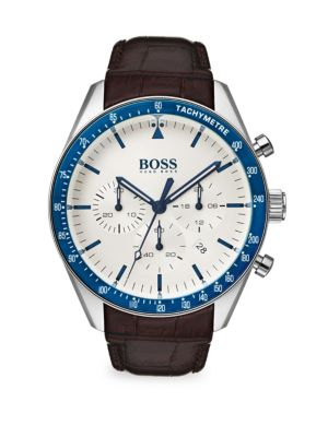Image of HUGO BOSS Trophy Leather-Strap Watch