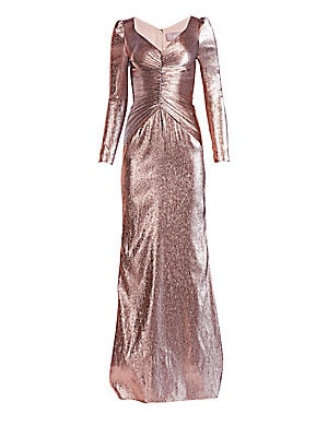 73a51c5100f7 Theia - Ruched Metallic Lamé Gown - saks.com