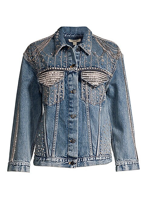 """Image of Embellished denim jacket in an 80s-inspired silhouette. Spread collar. Long sleeves. Buttoned cuffs. Button front. Chest buttoned flap pockets. Embellished details. Cotton. Dry clean. Made in USA. SIZE & FIT. Oversized fit. About 30"""" from shoulder to hem."""