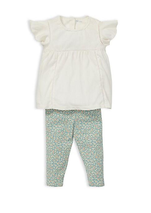 Baby Girls TwoPiece LaceTrimmed Top  Printed Leggings Set