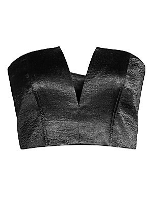 """Image of Cropped bustier finished with a metallic patina for a glam look. V-neck Strapless Concealed back zip Polyester Dry clean Imported SIZE & FIT About 16"""" from shoulder to hem Model shown is 5'10"""" (177cm) wearing US size Small. Contemporary Sp - Contemporary"""