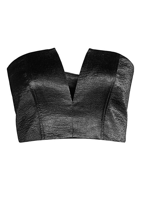 """Image of Cropped bustier finished with a metallic patina for a glam look.V-neck. Strapless. Concealed back zip. Polyester. Dry clean. Imported. SIZE & FIT. About 16"""" from shoulder to hem. Model shown is 5'10"""" (177cm) wearing US size Small."""