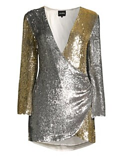 163c798206d Retrofête. Christine Sequin Mini Wrap Dress