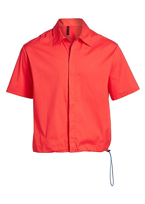 Image of A sporty drawstring waistline modernizes this classic button-up cut from stretch cotton-blend. Point collar. Short sleeves. Button placket front. Drawstring waist. Back storm flap with logo graphic. Cotton/polyamide/elastane. Dry clean. Made in Italy. SIZ