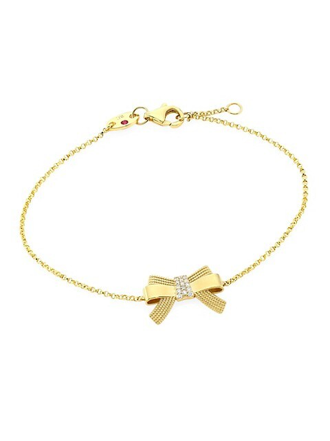 Disney x Roberto Coin Princess Cinderella 18K Yellow Gold & Diamond Bow Pendant Bracelet