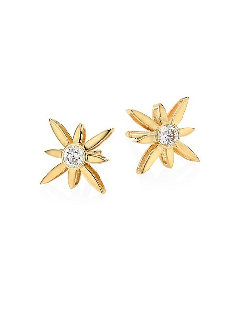 Disney x Roberto Coin Princess Cinderella 18K Yellow Gold & Diamond Floral Stud Earrings