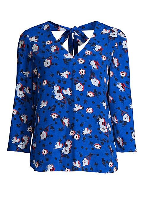 """Image of Multi-colored floral printed blouse with V-neck front and back. V-neck. Three-quarter sleeves. Back tie closure. Pullover style. Viscose/rayon. Hand wash. Imported. SIZE & FIT. Loose silhouette. About 26"""" from shoulder to hem. Model shown is 5'10"""" (177cm)"""