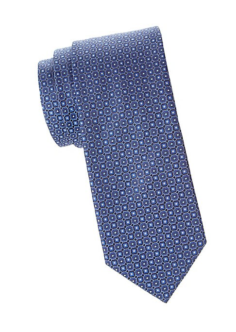 """Image of A repeating geometric print adorns this silk tie with premium wool interlining. Silk. Dry clean. Made in Italy. SIZE. Width, about 3""""."""