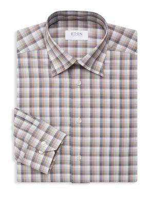 Eton Slim Fit Plaid Cotton Dress Shirt