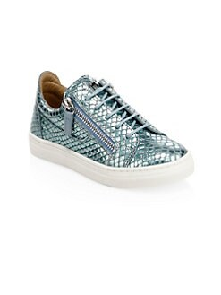 f715f89f6e3a3 Giuseppe Zanotti - Kid's Metallic Embossed Leather Low-Top Sneakers