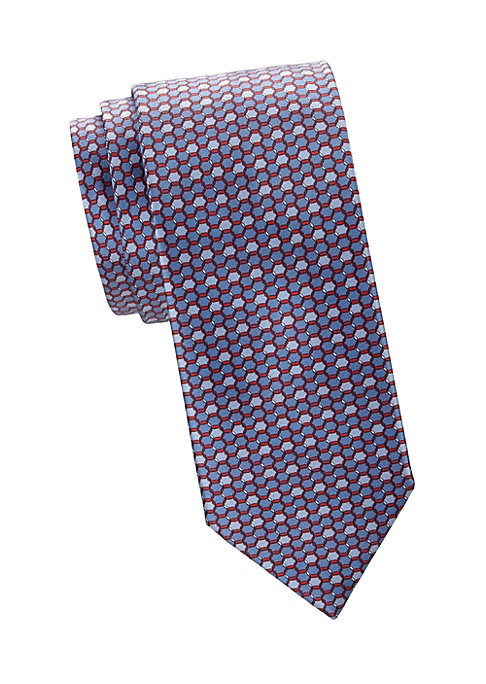 "Image of Regal silk tie with an allover hexagonal print lends a geometric honeycomb design. Silk. Dry clean. Made in Italy. SIZE. Width, 3""."