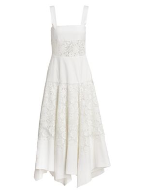 Rosie Assoulin A-Line Cotton Lace Midi Dress