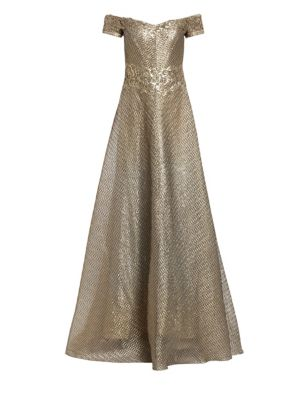 RENE RUIZ Metallic Organza Embroidered Off-The-Shoulder Gown in Gold