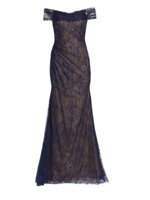 RENE RUIZ Embroidered Off-The-Shoulder Gown in Navy