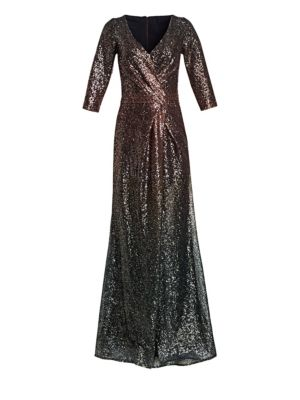 RENE RUIZ Glittering Ombré Evening Gown in Red Blue Ombre
