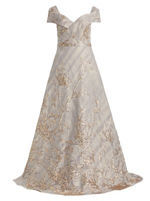 RENE RUIZ Off-The-Shoulder Fil Coupé Sequin Ball Gown in Pewter