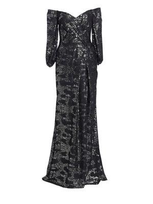 RENE RUIZ Three-Quarter Sleeve Off-The-Shoulder Sequin Gown in Black Silver