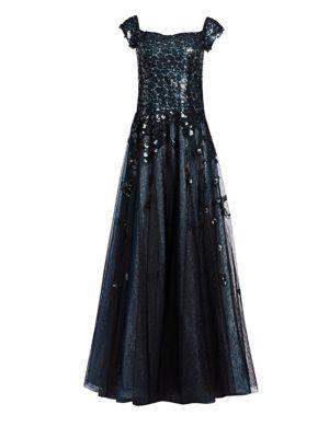 RENE RUIZ Off-The-Shoulder Sequin A-Line Gown in Blue Black
