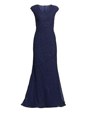 RENE RUIZ V-Neck Sequined Chiffon Gown in Navy