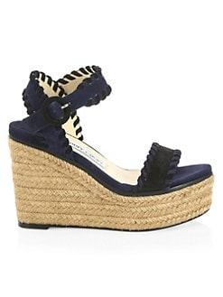 1002b351af11 Jimmy Choo. Abigail Suede Wedge Espadrille Sandals