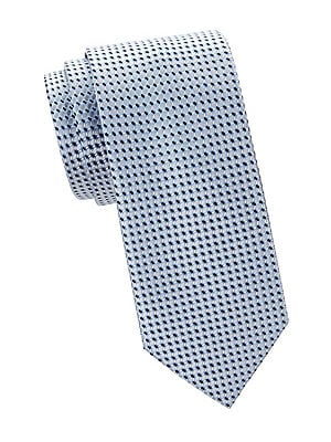 """Image of Allover geometric design adorns this refined silk tie. Silk Dry clean Made in Italy SIZE Width, 3"""". Men Luxury Coll - Brioni Clothing. Brioni. Color: Flannel Navy."""