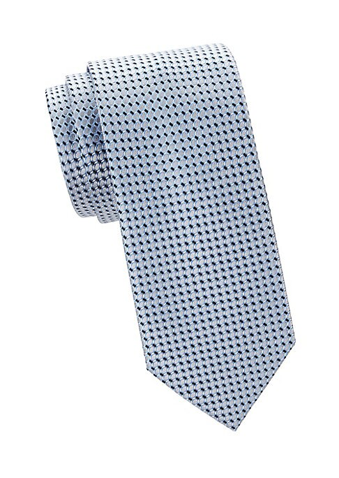 """Image of Allover geometric design adorns this refined silk tie. Silk. Dry clean. Made in Italy. SIZE. Width, 3""""."""