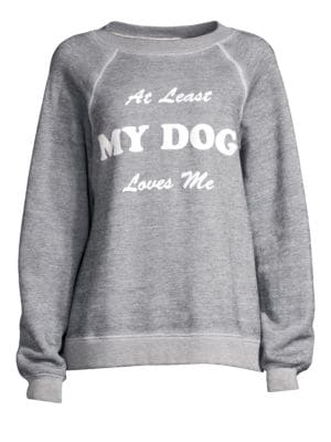 WILDFOX My Dog Loves Me Sommers Pullover Sweater in Heather Grey