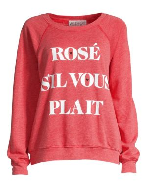WILDFOX Rose Sommers Raglan Pullover Sweater in Scarlet