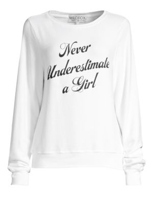 WILDFOX Never Underestimate A Girl Pullover Sweater in Clean White
