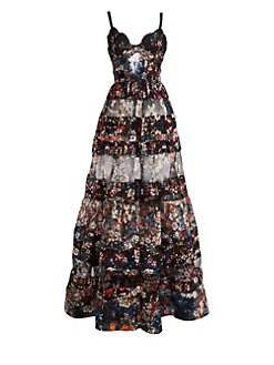 94a5cbbd28f Floral Silk Tiered Gown BLACK. QUICK VIEW. Product image