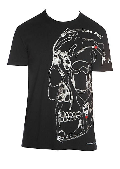 "Image of An assortment of graphic zippers and trims creates an oversized skull motif which adorns this cotton tee. Banded crewneck. Short sleeves. Pullover style. Cotton. Dry clean. Made in Italy. SIZE & FIT. Classic fit. About 28"" from shoulder to hem."