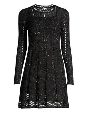 Sparkle Long Sleeve Knit A Line Dress by M Missoni
