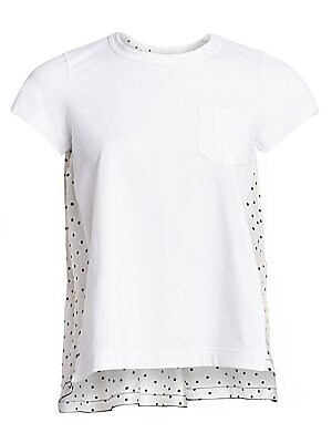 Image of Mix-and-match patchwork construction is a staple of the brand and this tee exemplifies how this can be done in a delicate, lady-like manner. A simple cotton tee forms the front of the garment while a gauzy polka dot panel with a gathered yoke defines the