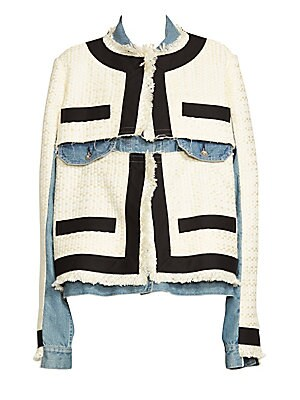 Image of From the Saks It List: Luxe Denim An oversized Western denim jacket with traditional styling forms the base of this eye-catching topper. Panels seemingly cut from a lady-like tweed jacket are grafted onto this piece while unfinished edges and extra-long s